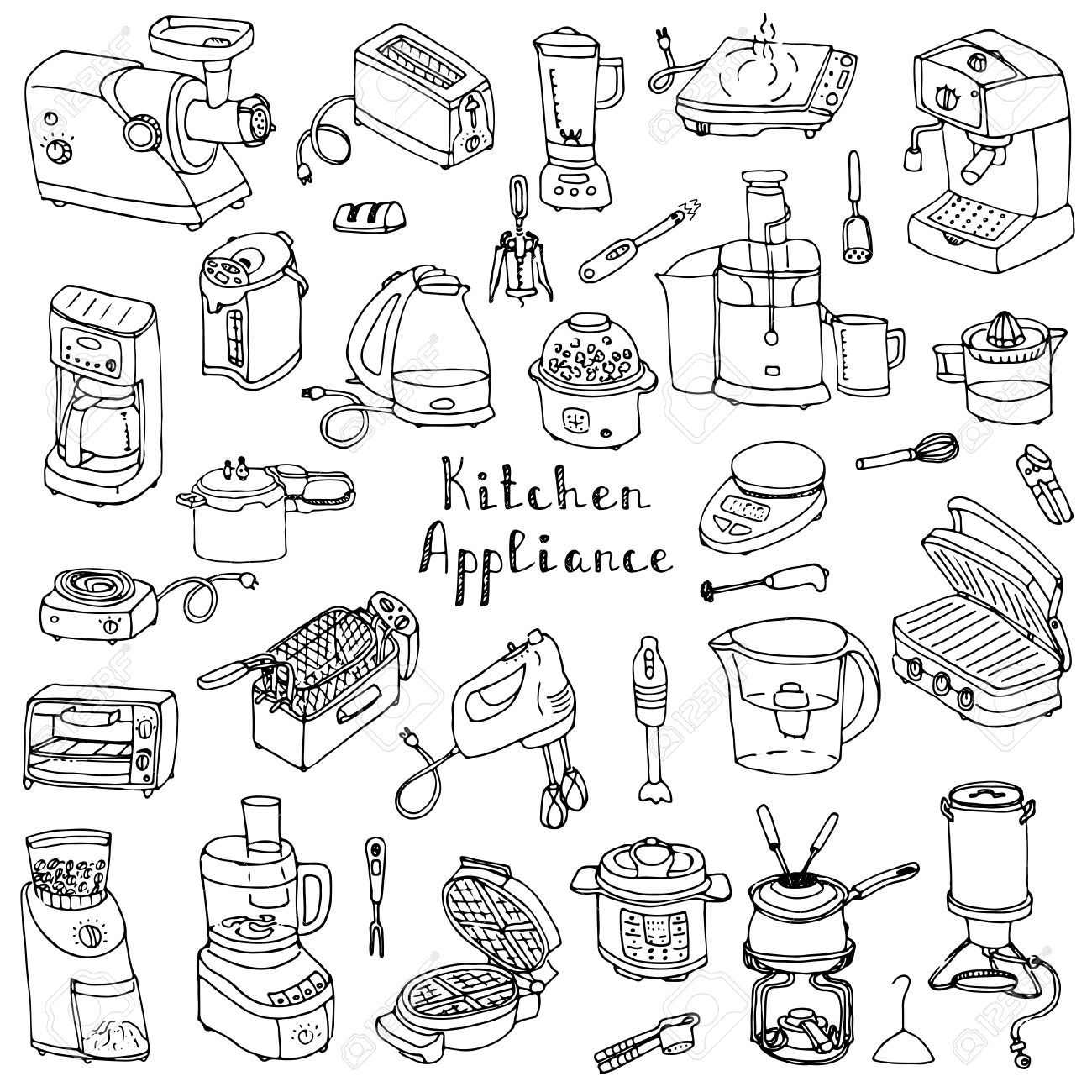 Hand drawn doodle kitchen appliance vector illustration cartoon icons set various household equipment and facilities small