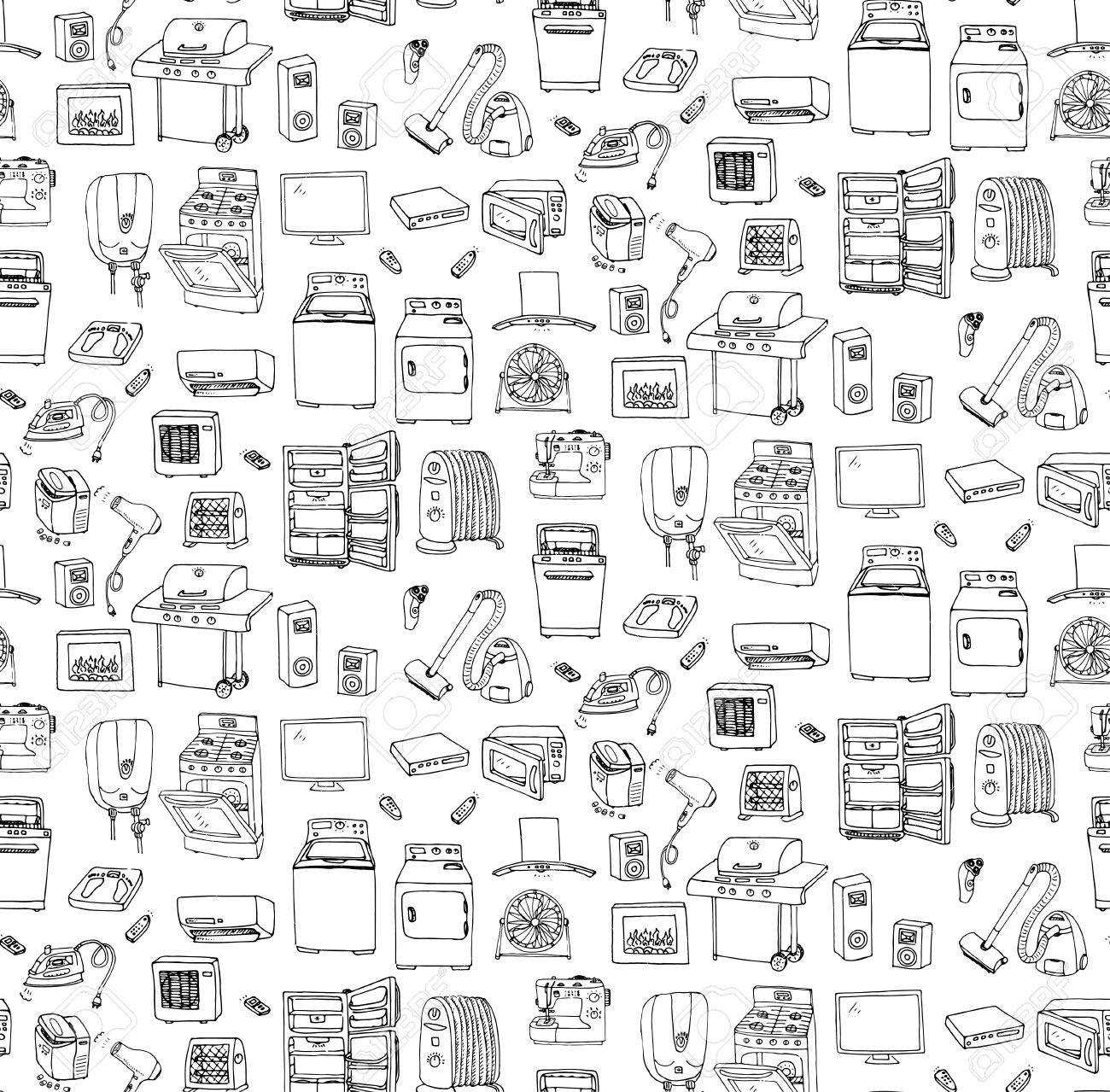 Seamless background hand drawn doodle Home appliance vector illustration Cartoon icons set Various household equipment Major appliances Consumer electronics Kitchenware Freehand vector sketches - 54971927