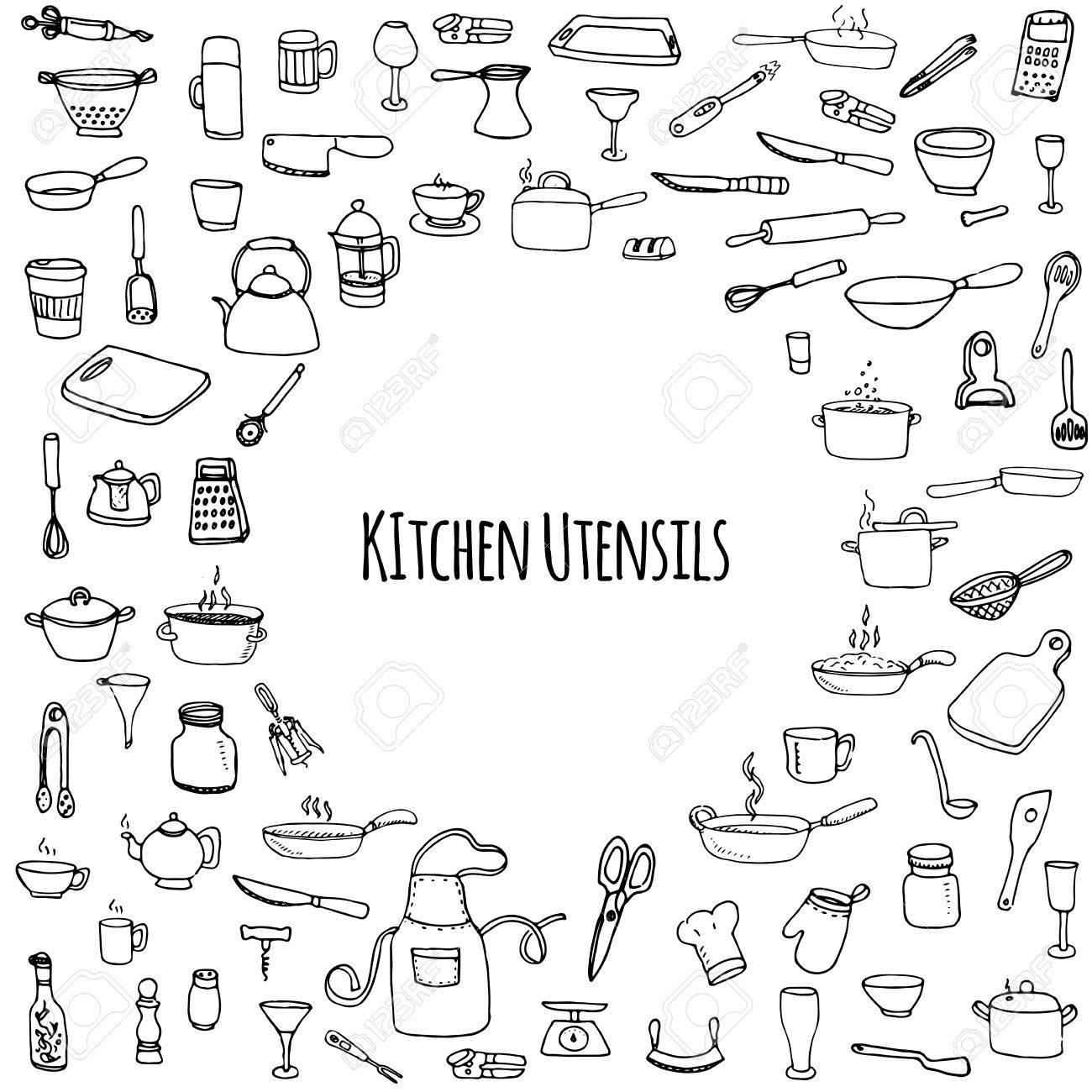Hand Gezeichnet Doodle Küchenutensilien Gesetzt Vektor-Illustration ...