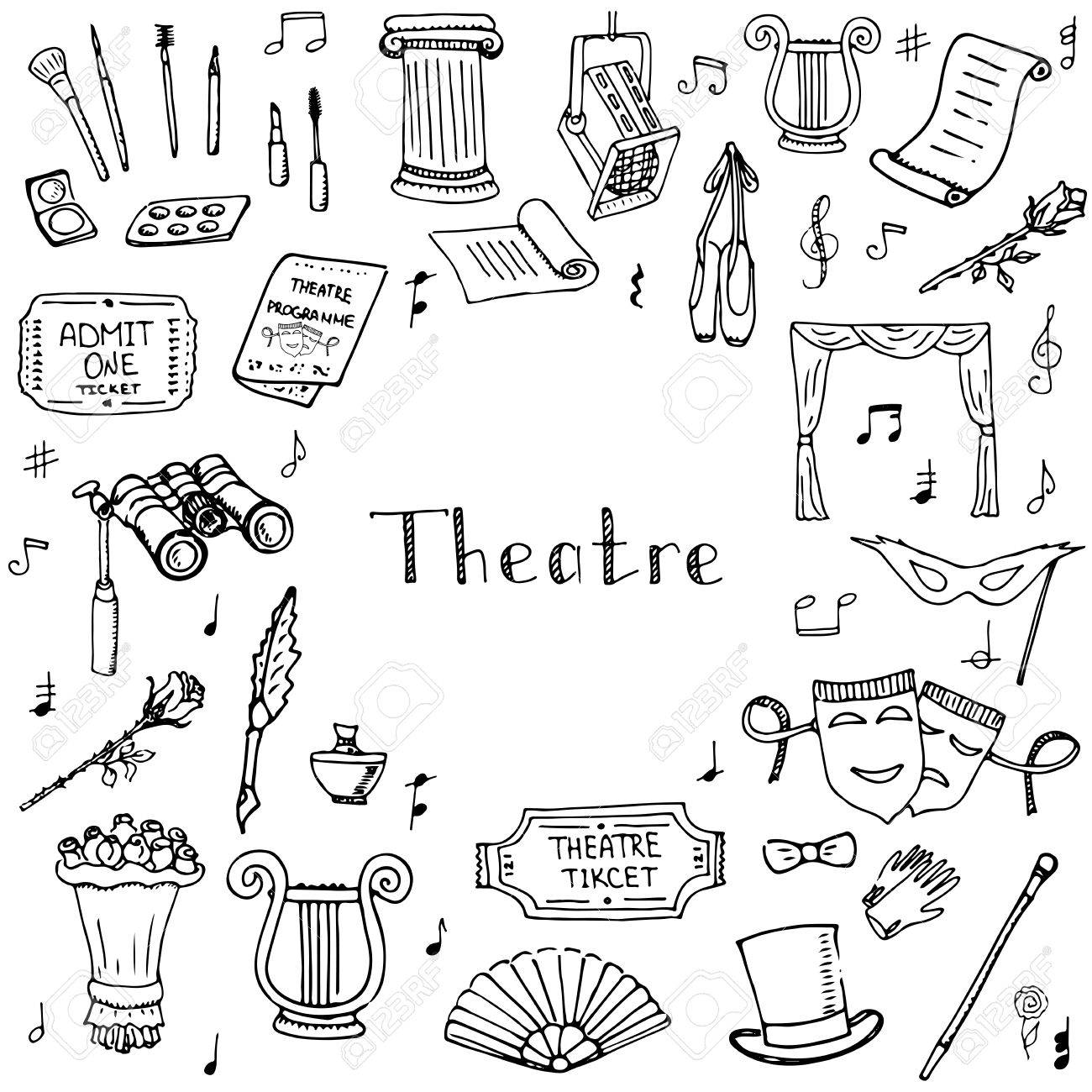 hand drawn doodle theatre set vector illustration sketchy theater hand drawn doodle theatre set vector illustration sketchy theater icons theatre acting performance elements ticket masks