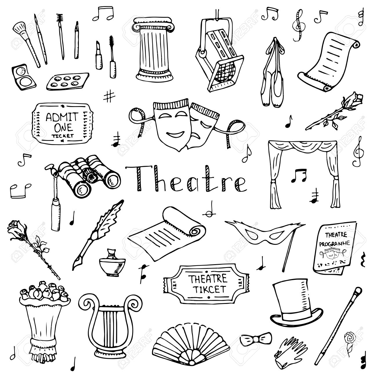 Hand drawn doodle Theatre set Vector illustration Sketchy theater icons Theatre acting performance elements Ticket Masks Lyra Flowers Curtain stage Musical notes Pointe shoes Make-up artist tools - 54972633