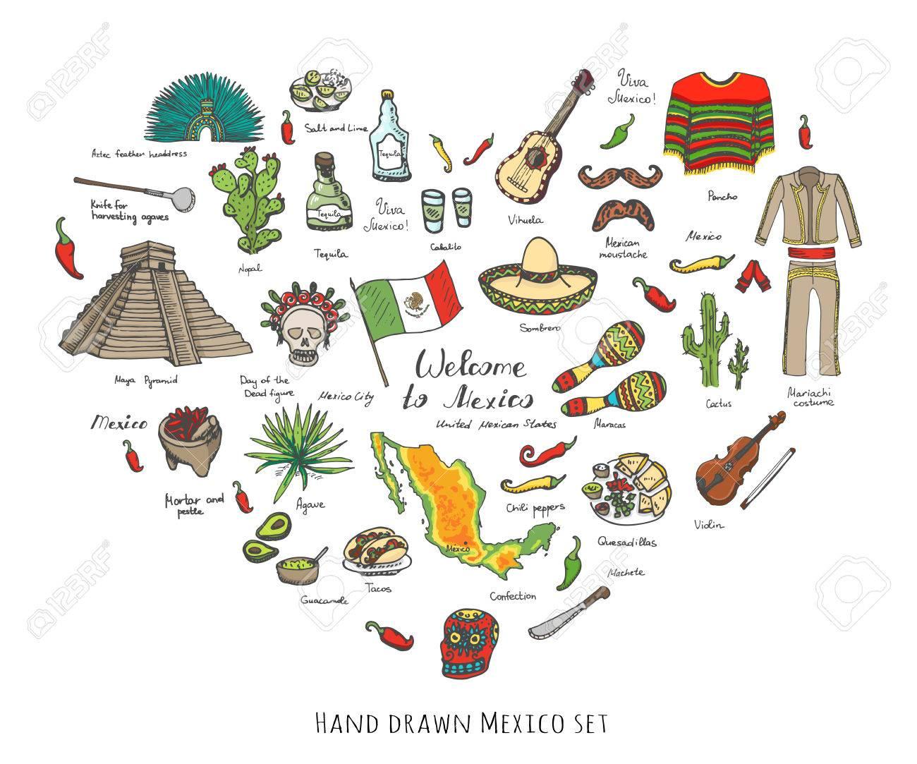 Dibujado A Mano Doodle De México Establece Ilustración Vectorial Sketchy  Iconos De Comida Mexicana Estados Unidos Mexicanos Elementos De La Bandera  De ... c05e1fe67e5