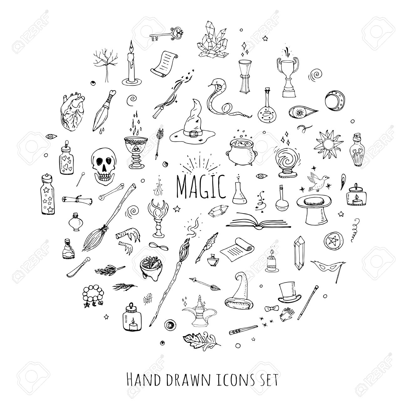 Hand drawn doodle magic set vector illustration wizardy hand drawn doodle magic set vector illustration wizardy witchcraft symbols isolated icons collections cartoon sorcery biocorpaavc Choice Image