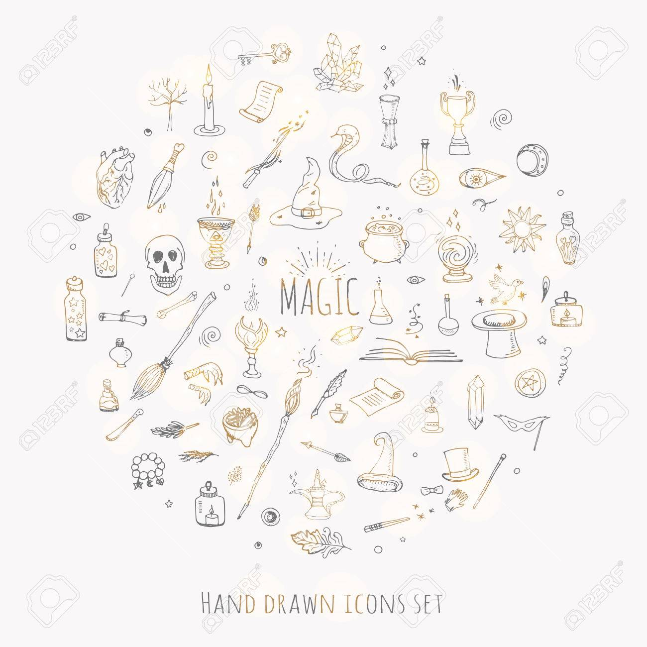 Hand drawn doodle magic set vector illustration wizardy hand drawn doodle magic set vector illustration wizardy witchcraft symbols isolated icons collections cartoon sorcery buycottarizona