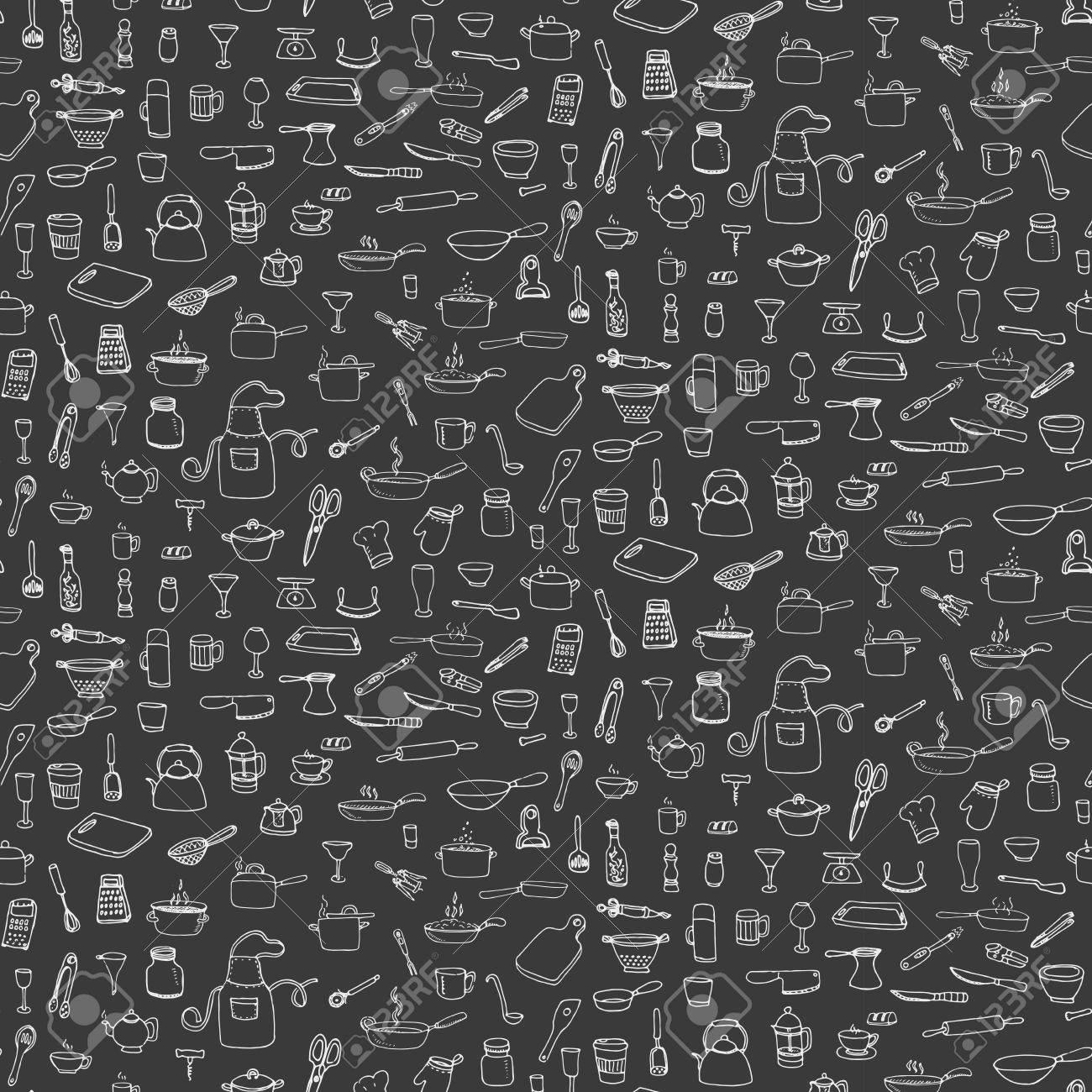 Nahtlose Hintergrund Hand Gezeichnet Doodle Küchenutensilien Gesetzt ...