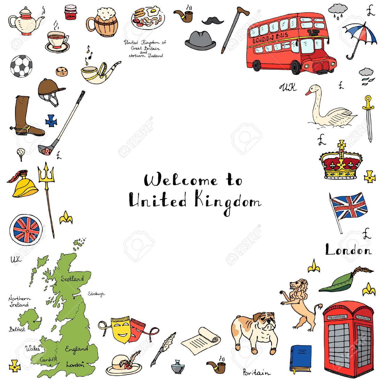 hand drawn doodle united kingdom set vector illustration uk icons