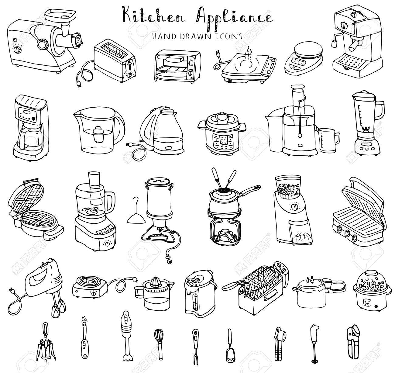 Hand Drawn Doodle Kitchen Appliance Vector Illustration Cartoon