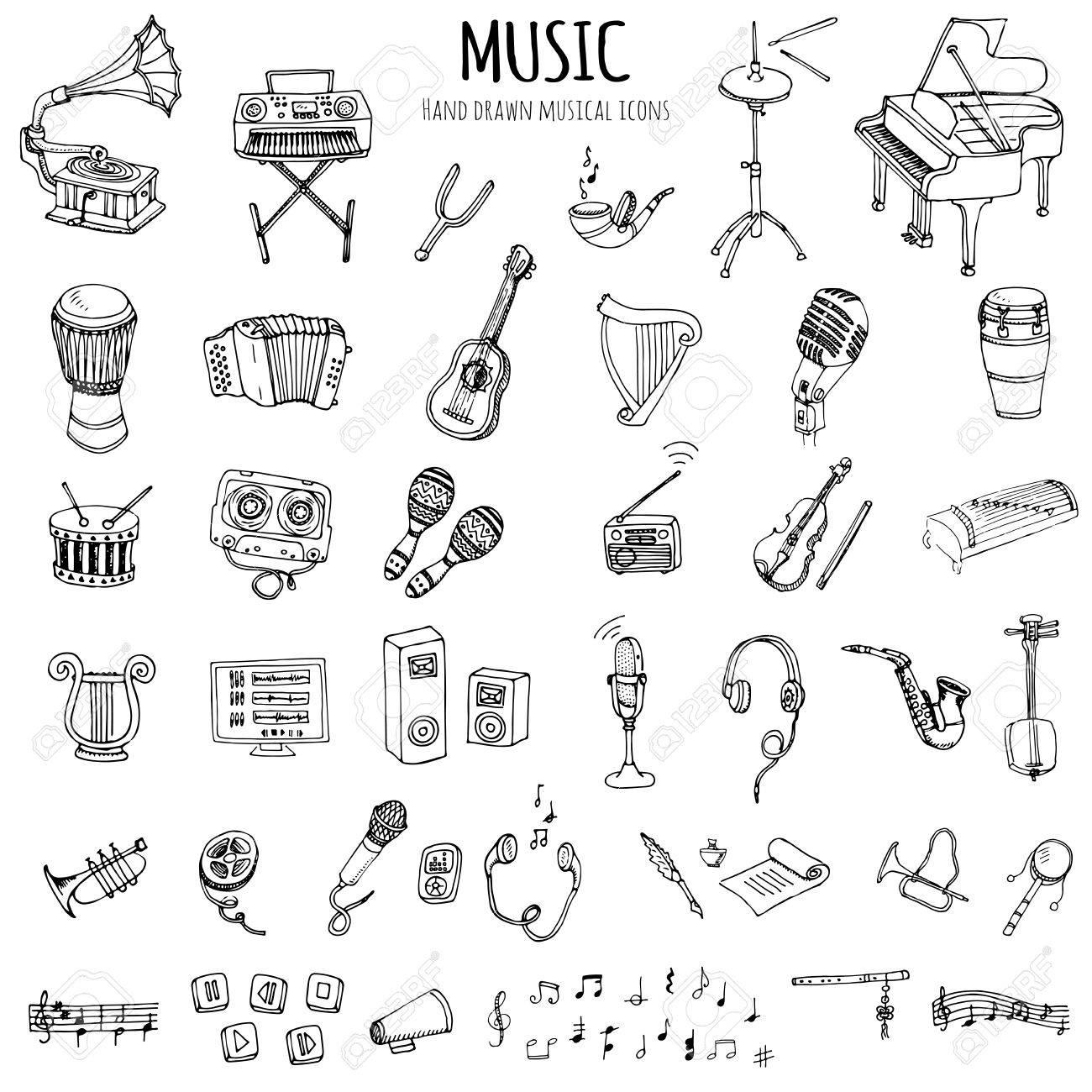Hand Drawn Doodle Music Set Vector Illustration Musical Instrument
