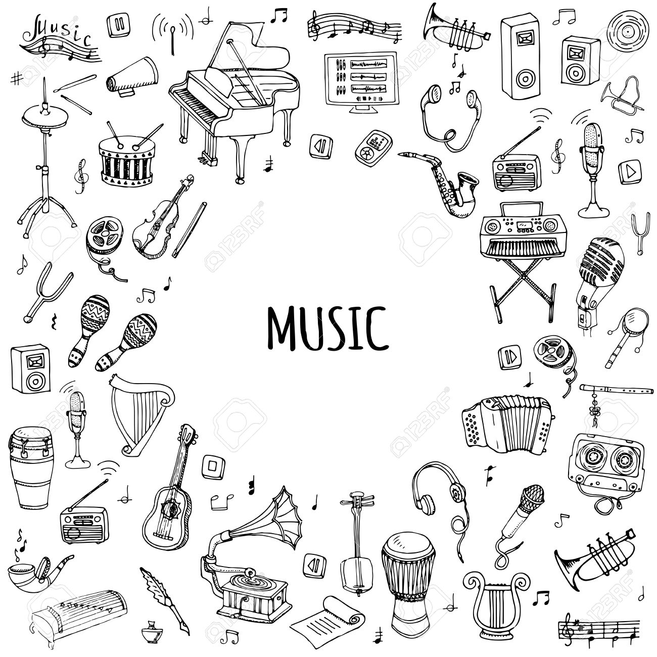 Hand drawn doodle music set vector illustration musical instrument hand drawn doodle music set vector illustration musical instrument and symbols icons collections cartoon sound concept biocorpaavc Gallery