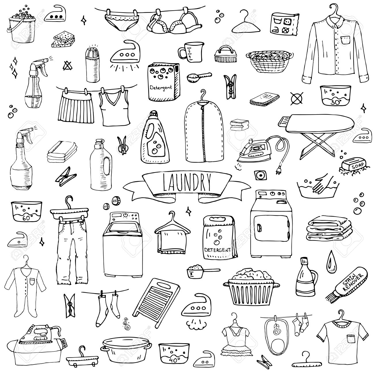 Hand drawn doodle Laundry set Vector illustration washing icons Laundry concept elements Cleaning business symbols collection Housework Equipment and facilities for washing, drying and ironing clothes - 58069190