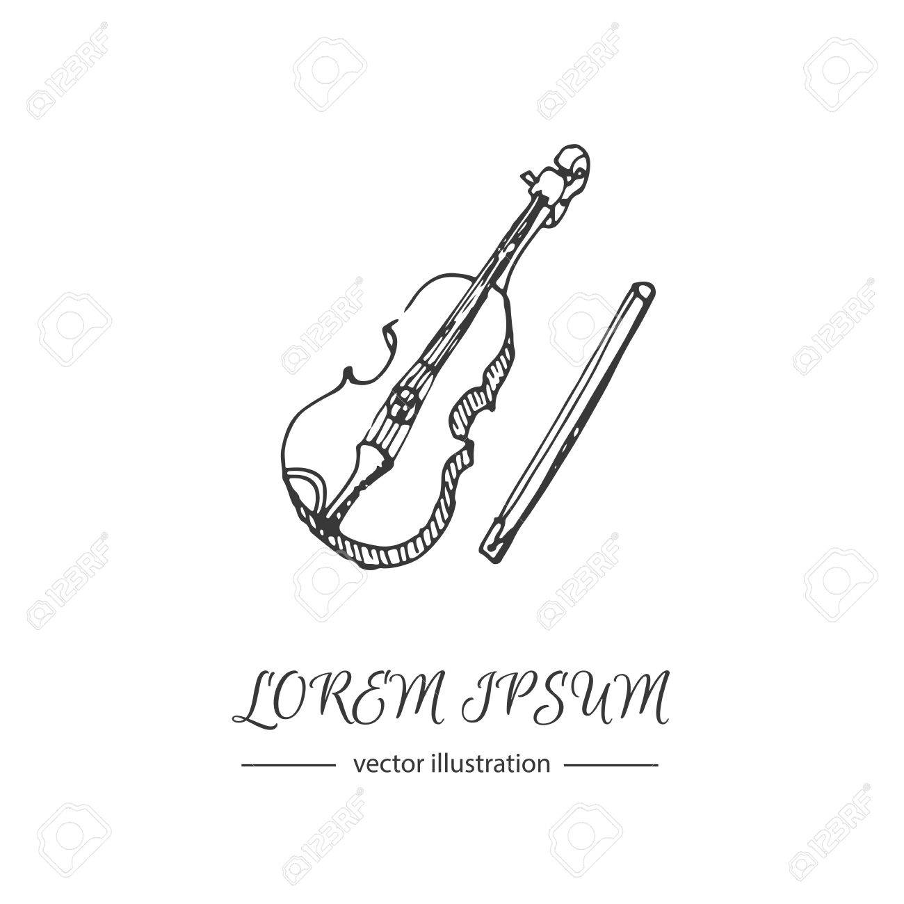 Hand Drawn Doodle Violin Icon Vector Illustration Musical Instrument