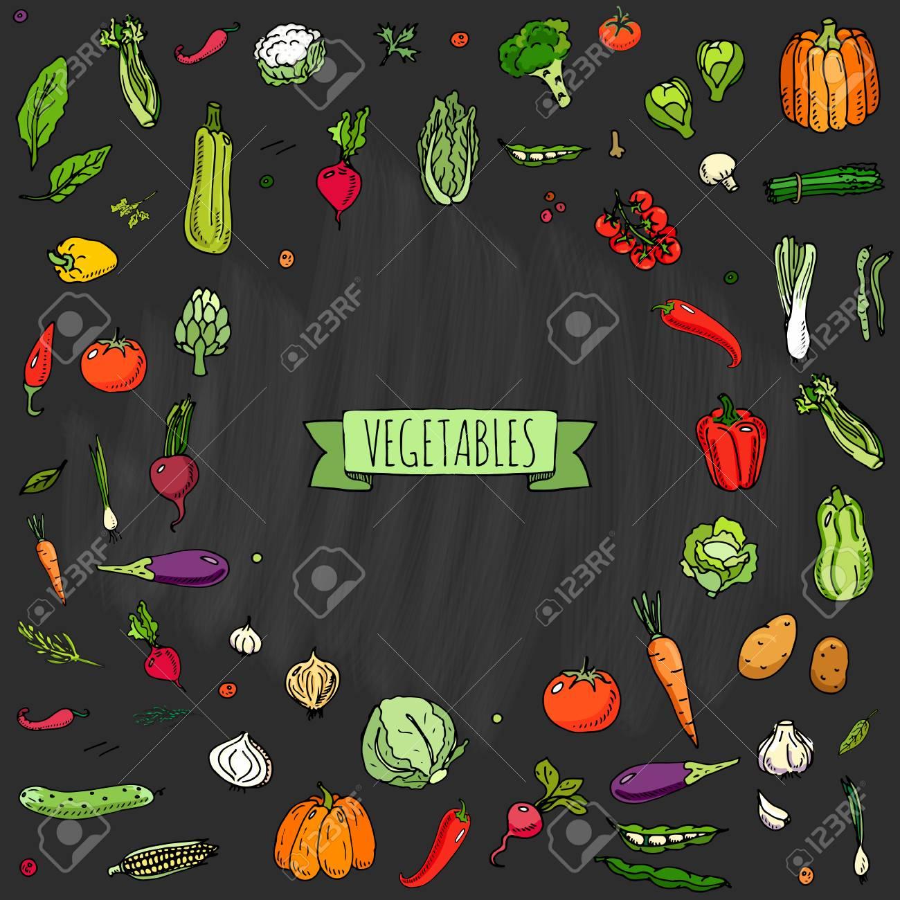 Dessinés à la main doodle légumes icons set Vector illustration symboles de légumes de saison Cartoon collection différentes sortes de légumes