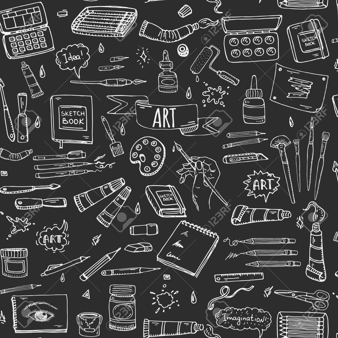 Seamless Background Hand Drawn Doodle Art And Craft Tools Icons