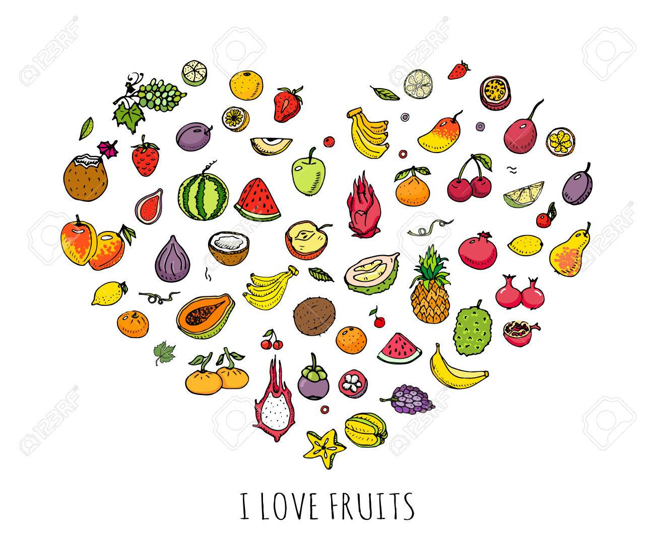 Hand Drawn Doodle Fruits Icons Set Vector Illustration Seasonal