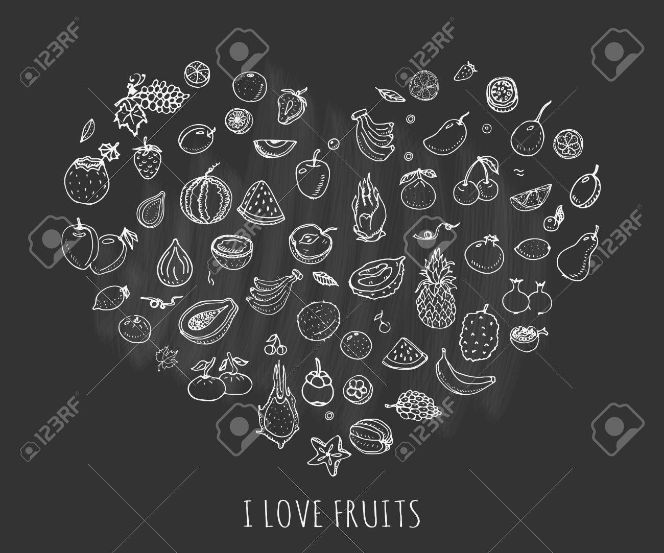 Hand drawn doodle fruits icons set vector illustration seasonal hand drawn doodle fruits icons set vector illustration seasonal fruits symbols collection cartoon different kinds of biocorpaavc