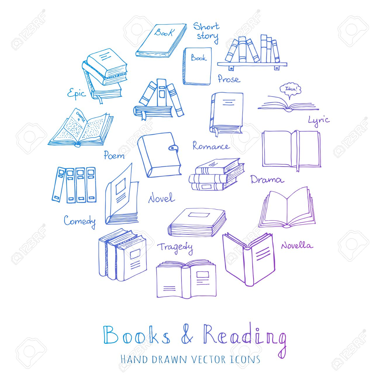 hand drawn doodle books reading set vector illustration sketchy