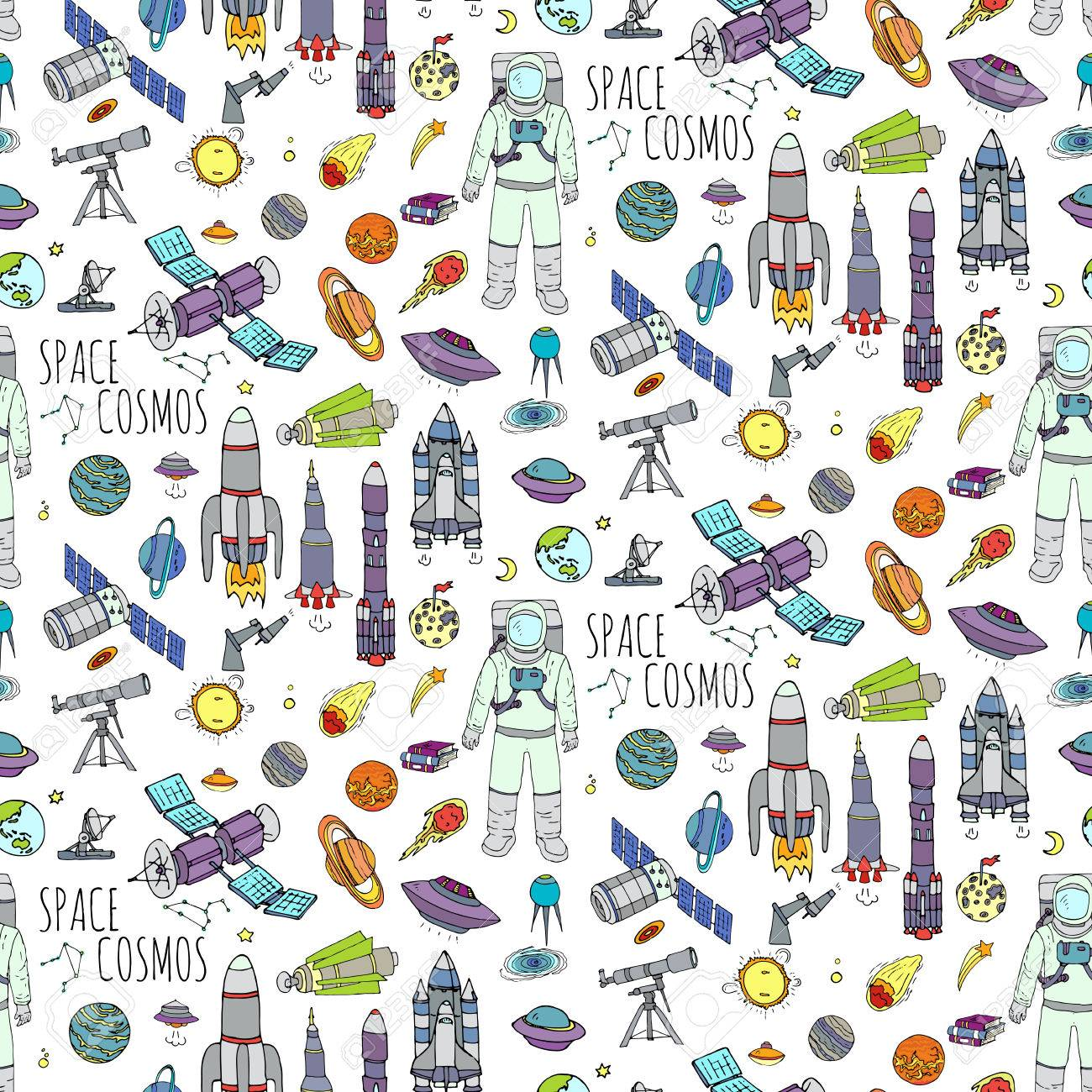 Seamless background hand drawn doodle space and cosmos set seamless background hand drawn doodle space and cosmos set vector illustration solar system buycottarizona