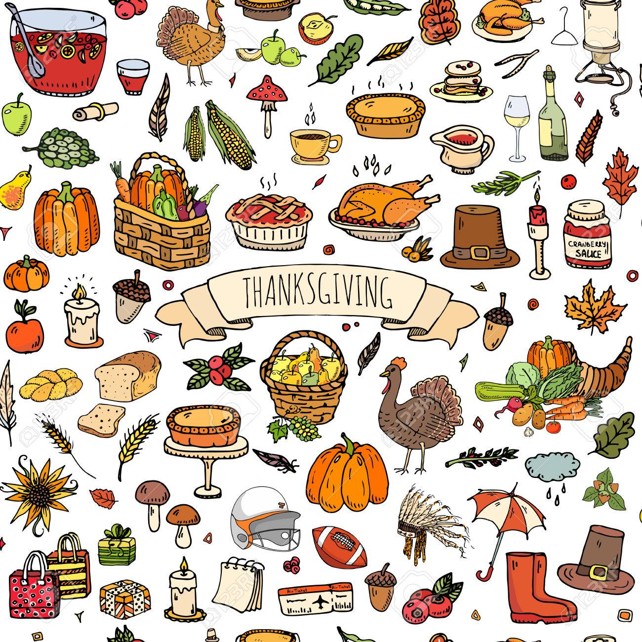 seamless background hand drawn doodle thanksgiving icons vector