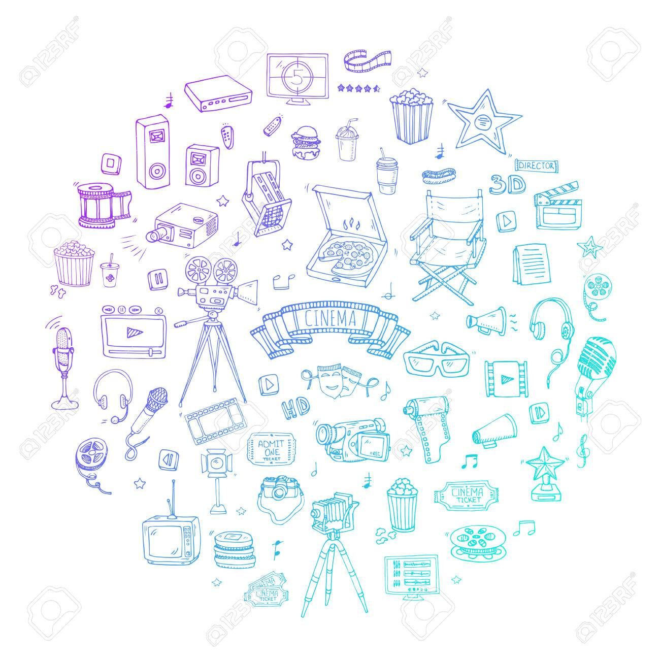 Hand Drawn Doodle Cinema Set Vector Illustration. Movie Making.. Royalty  Free Cliparts, Vectors, And Stock Illustration. Image 96612407.