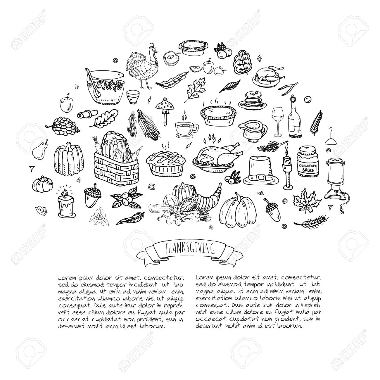 Hand Drawn Doodle Thanksgiving Icons Set Vector Illustration