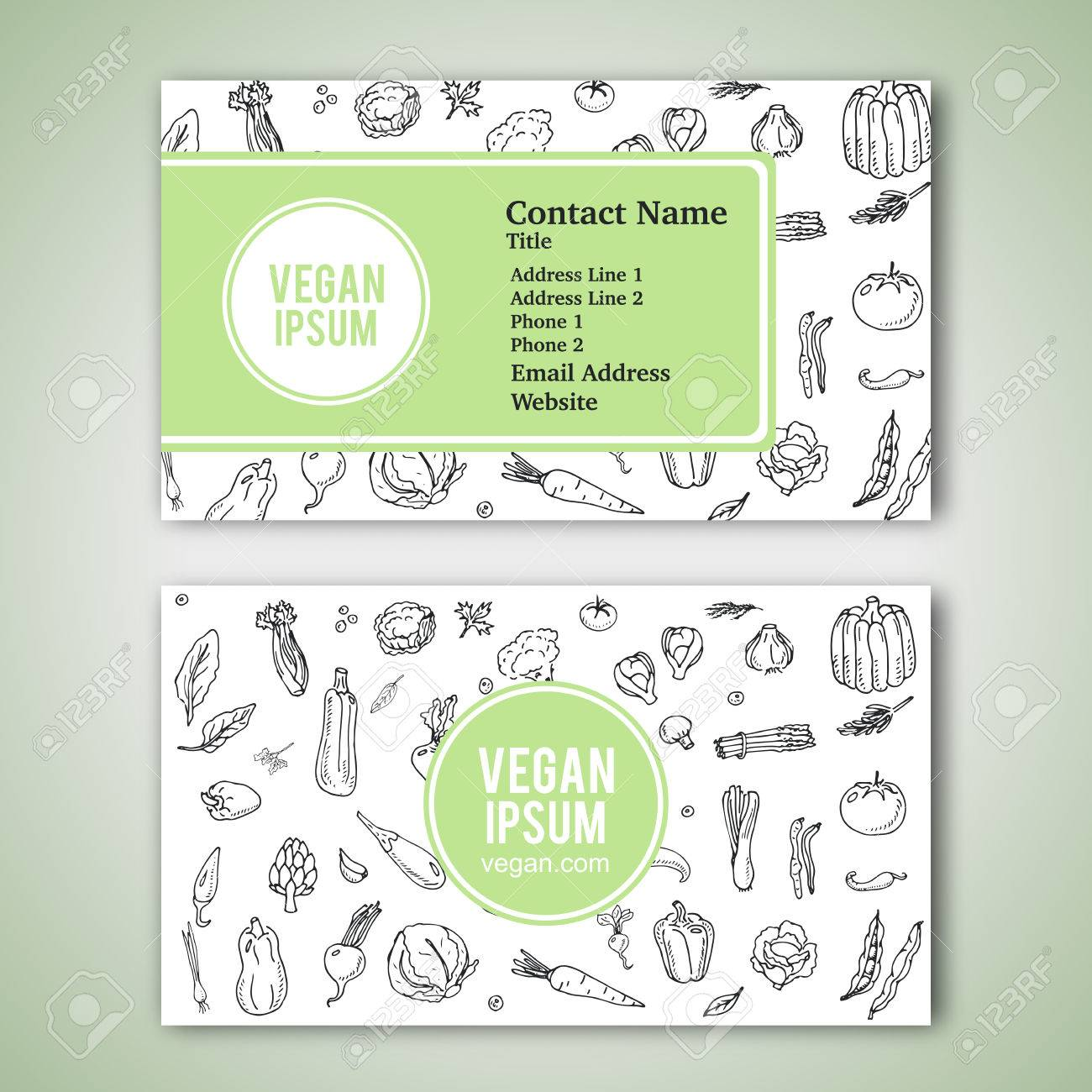 Business cards template with hand drawn doodle vegetables icons business cards template with hand drawn doodle vegetables icons for vegan shop or restaurant vector reheart Gallery