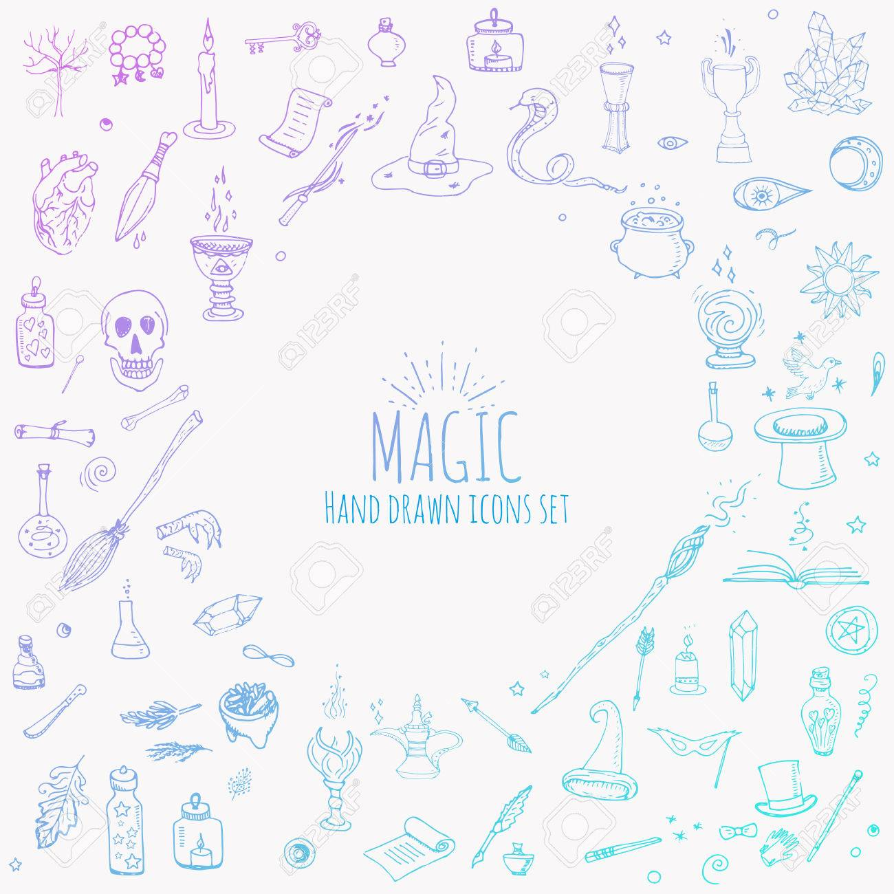 Hand drawn doodle magic icons set vector illustration cartoon hand drawn doodle magic icons set vector illustration cartoon sorcery concept wizardy buycottarizona