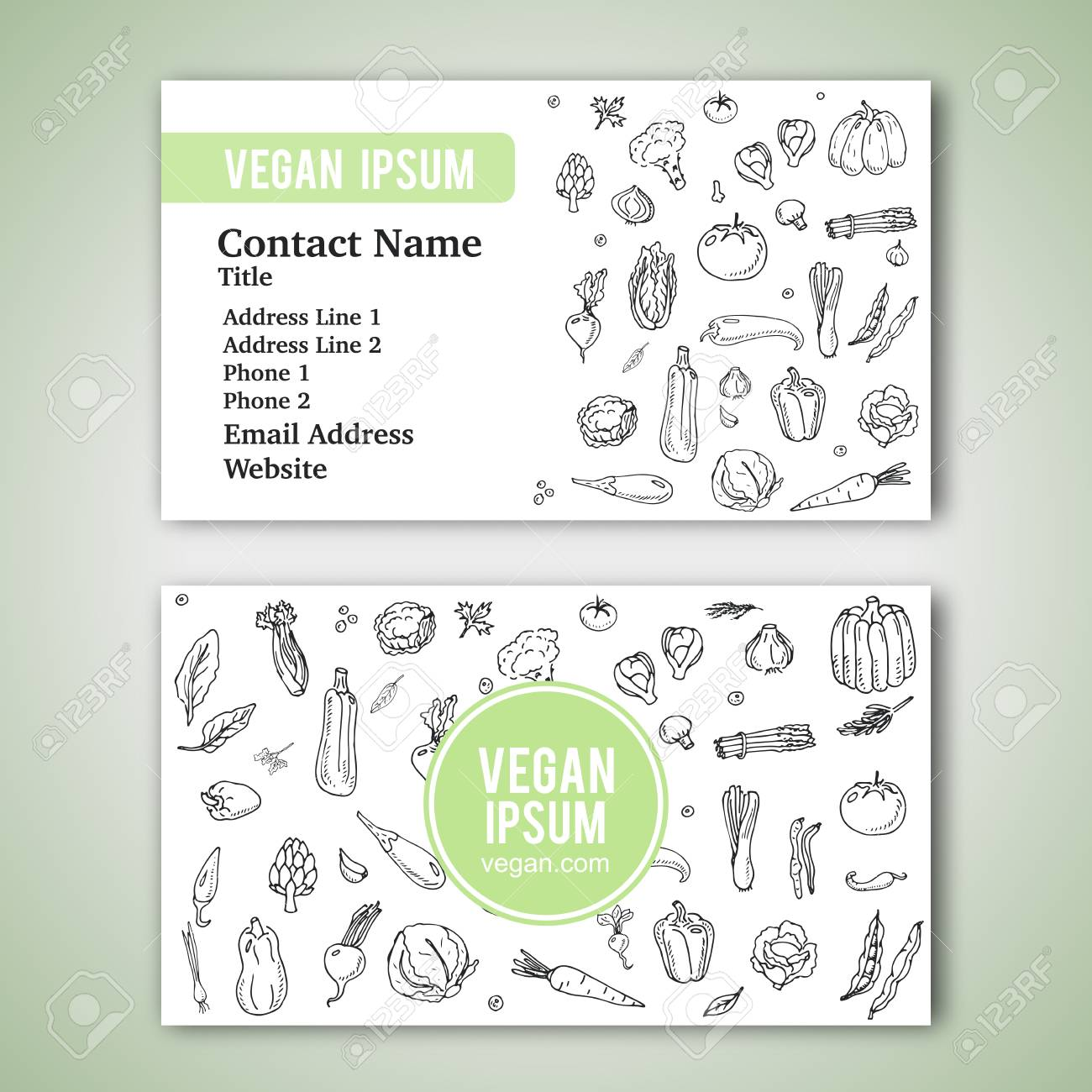 Cartes De Visite Modele Avec Main Dessine Legumes Doodle Icones Pour Boutique Vegetalien Ou Restaurant Vector Illustration Cartoon Differents Types