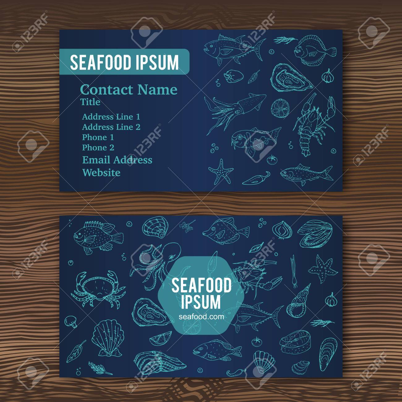 Business card template with hand drawn doodle seafood icons for banco de imagens business card template with hand drawn doodle seafood icons for restaurant vector illustration cartoon fresh sea food symbols fish reheart Gallery