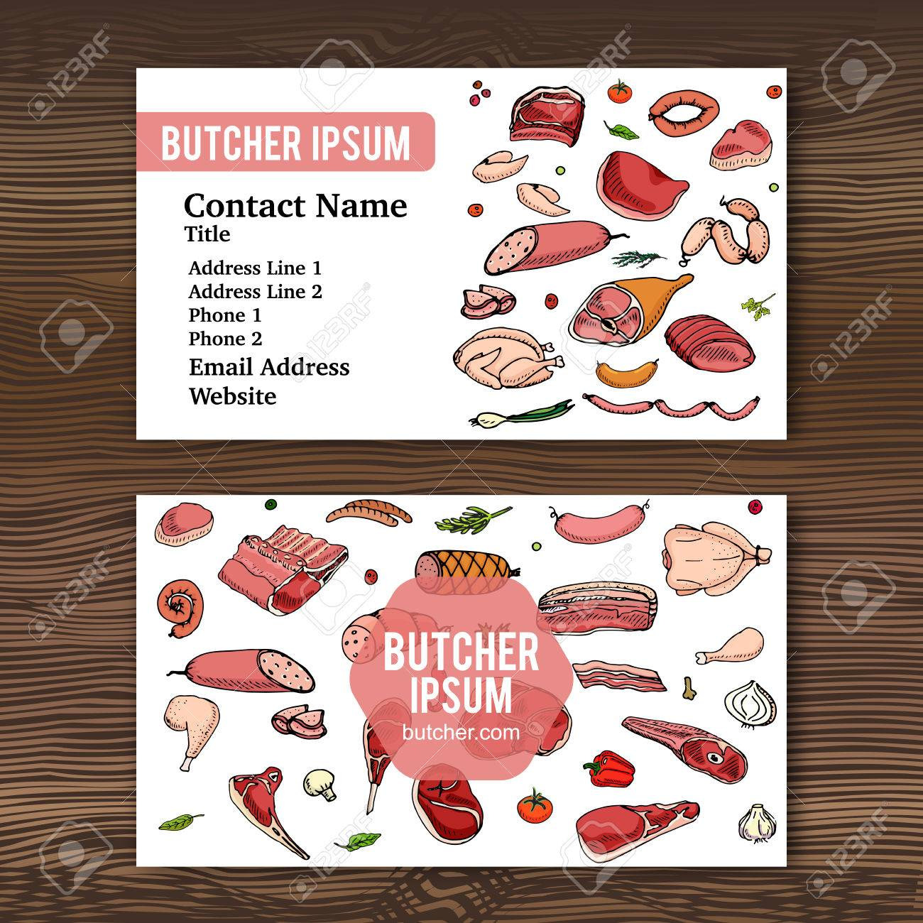 Business Card Template With Hand Drawn Doodle Set Of Cartoon ...