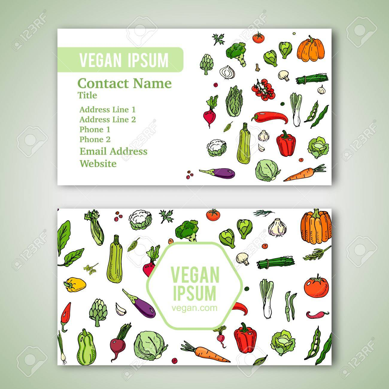 Business Cards Template With Hand Drawn Doodle Vegetables Icons ...