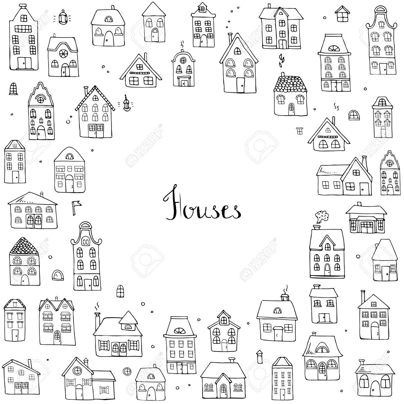 hand drawn doodle street homes icons set vector illustration