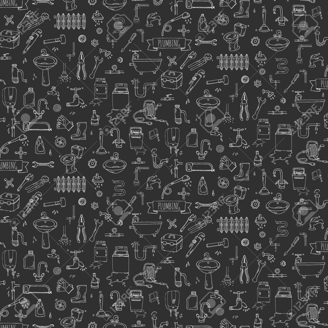 Seamless Pattern Hand Drawn Doodle Plumbing Icons Set Vector
