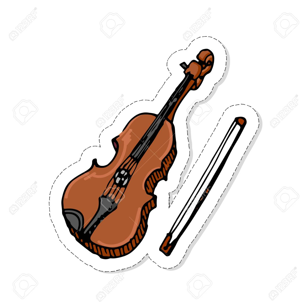 Hand Drawn Doodle Violin Patch Icon Vector Illustration Musical
