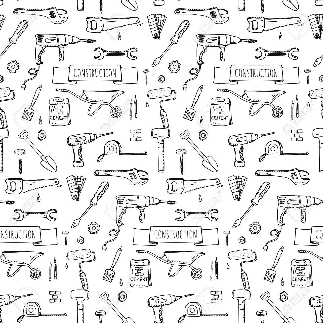 Nahtlose Hintergrund Hand Gezeichnet Doodle Construction Tools Set ...