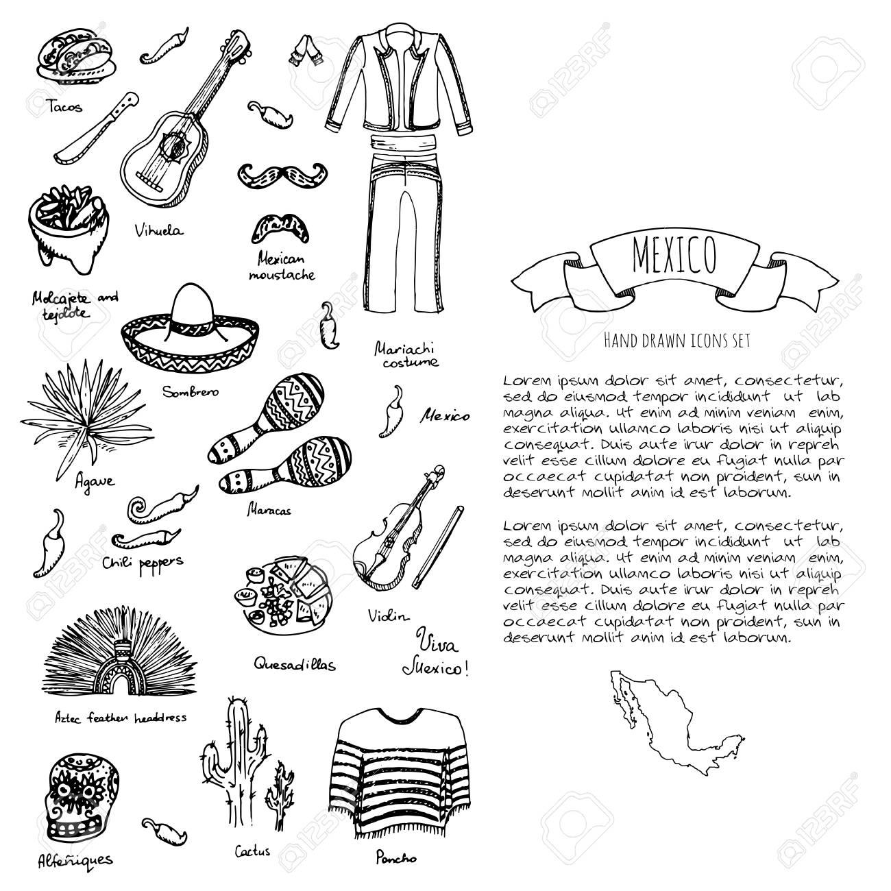 Foto de archivo - Mano doodle México establece ilustración vectorial  Sketchy iconos de comida mexicana ESTADOS UNIDOS MEXICANOS elementos  Bandera Maracas ... 96b6e32c4ae