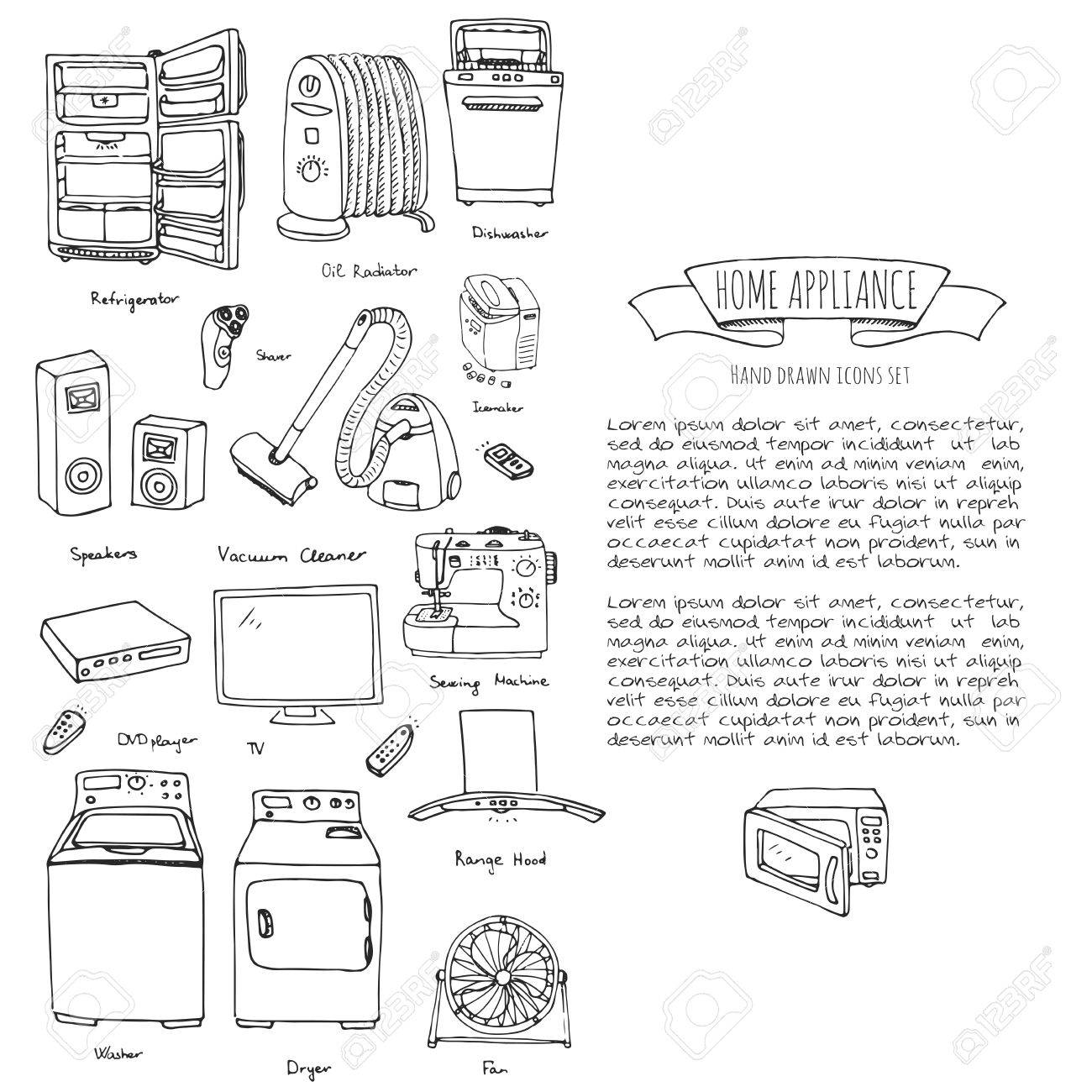 Hand Drawn Doodle Home Appliance Vector Illustration Cartoon Royalty Free Cliparts Vectors And Stock Illustration Image 72806075