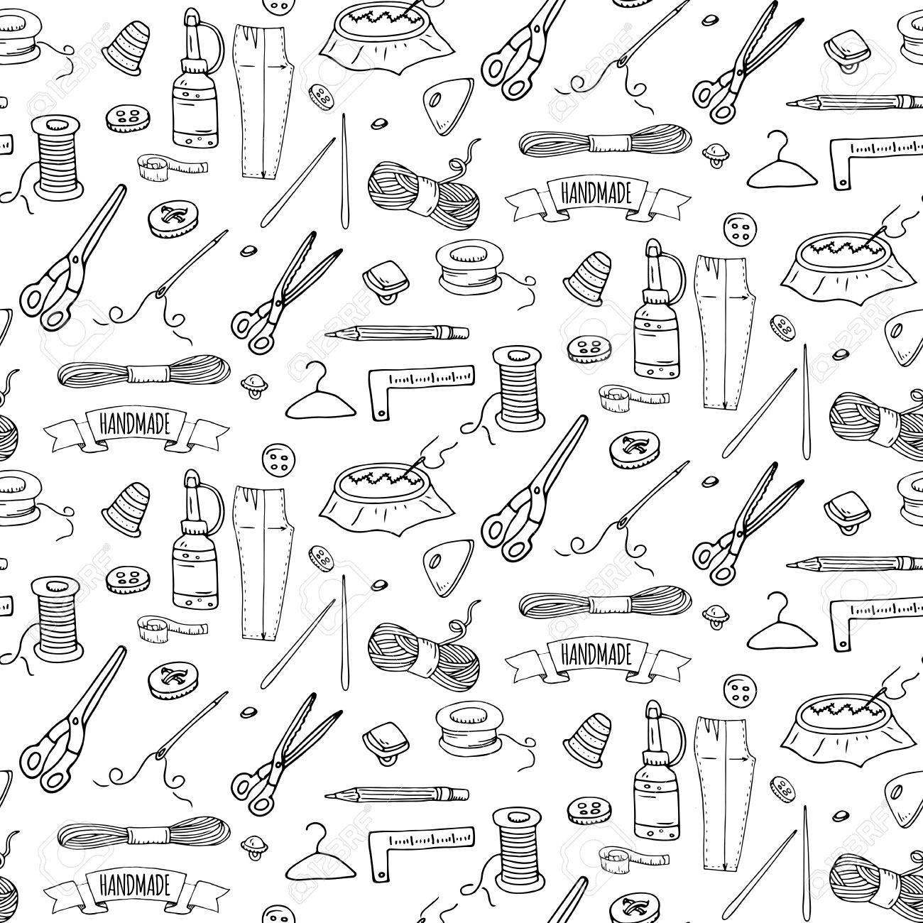 Nahtlose Muster Handgezeichnete Doodle Handgemachte Symbole ...