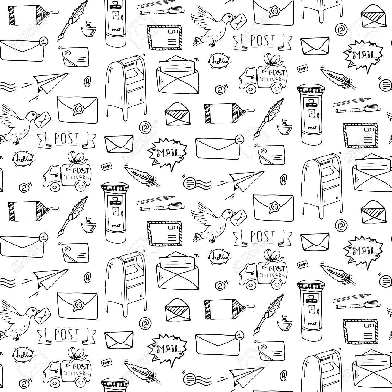 Seamless pattern hand drawn doodle postal elements icon set seamless pattern hand drawn doodle postal elements icon set vector illustration isolated post symbols spiritdancerdesigns Images