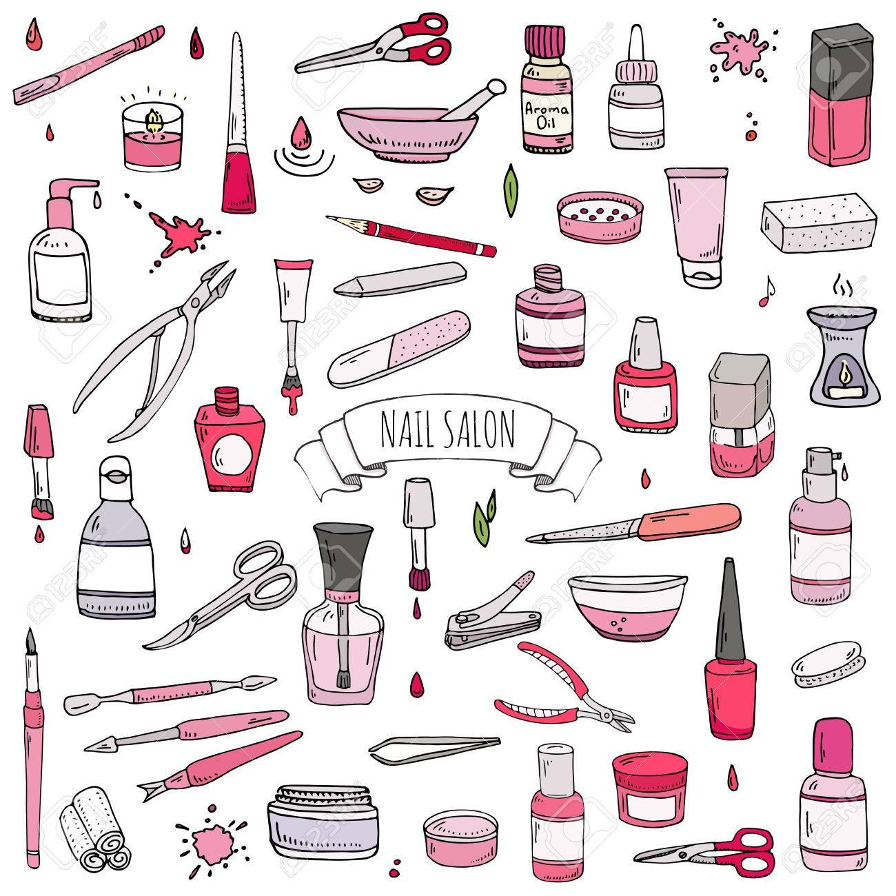 Hand Drawn Doodle Nail Salon Icons Set. Vector Illustration ...