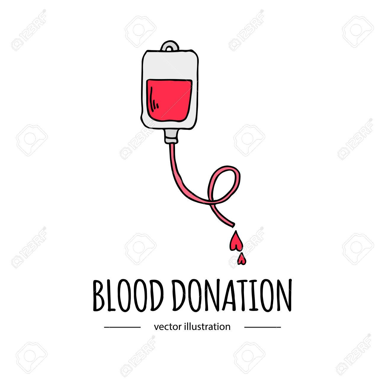 Hand Drawn Cartoon Style Doodle Blood Donation Bag With Tube