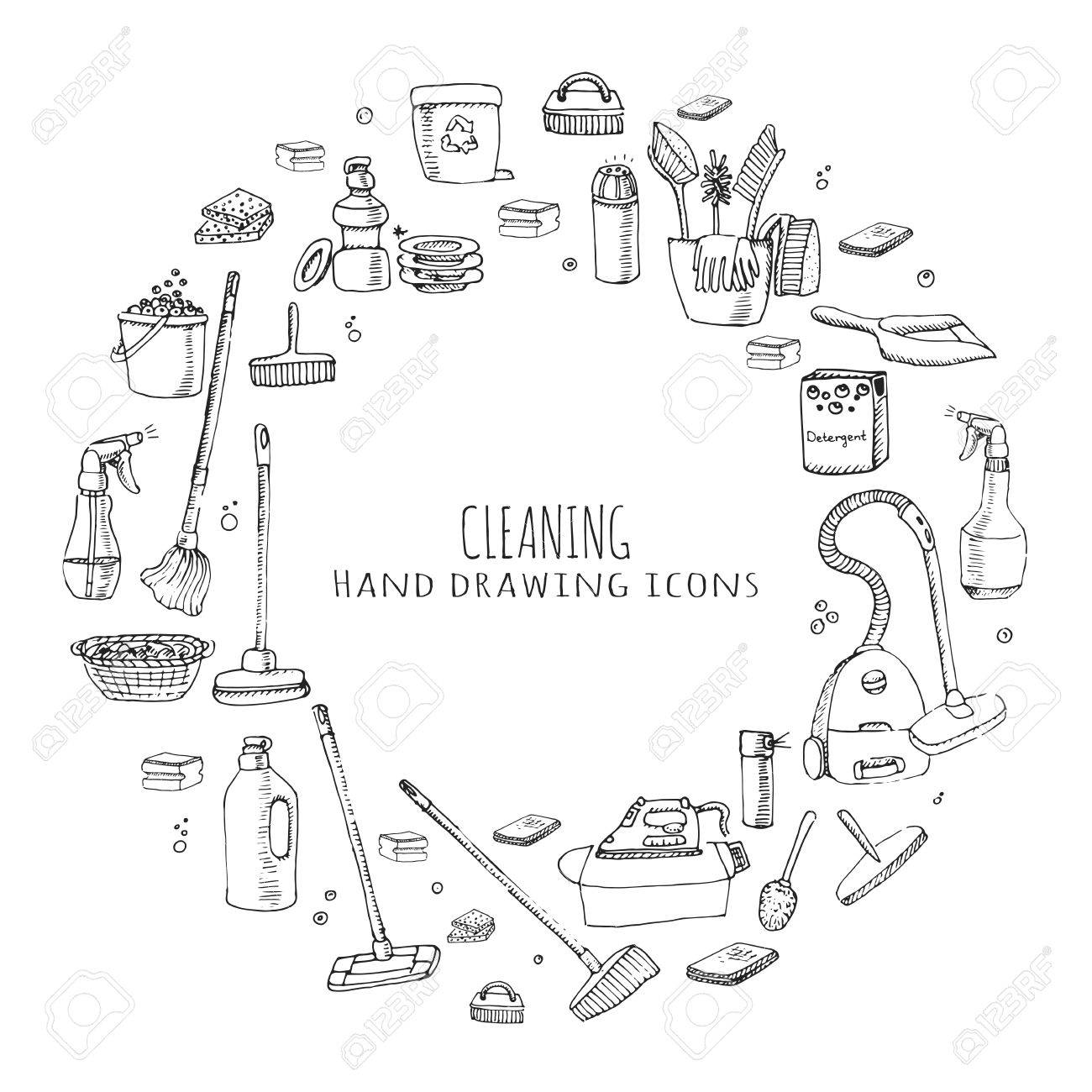 Hand Drawn Doodle Cleaning Service Icons Set Vector Illustration Symbols Tools Detergent