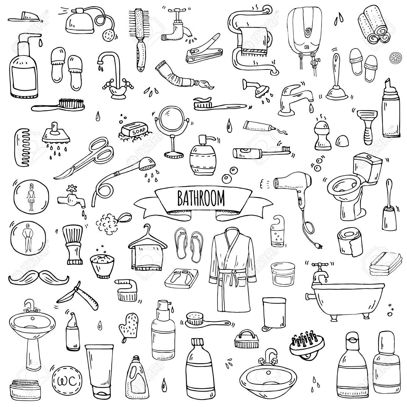 Hand Drawn Doodle Bathroom Related Icons Set Vector Illustration Home Bath Symbols Collection Cartoon Elements On