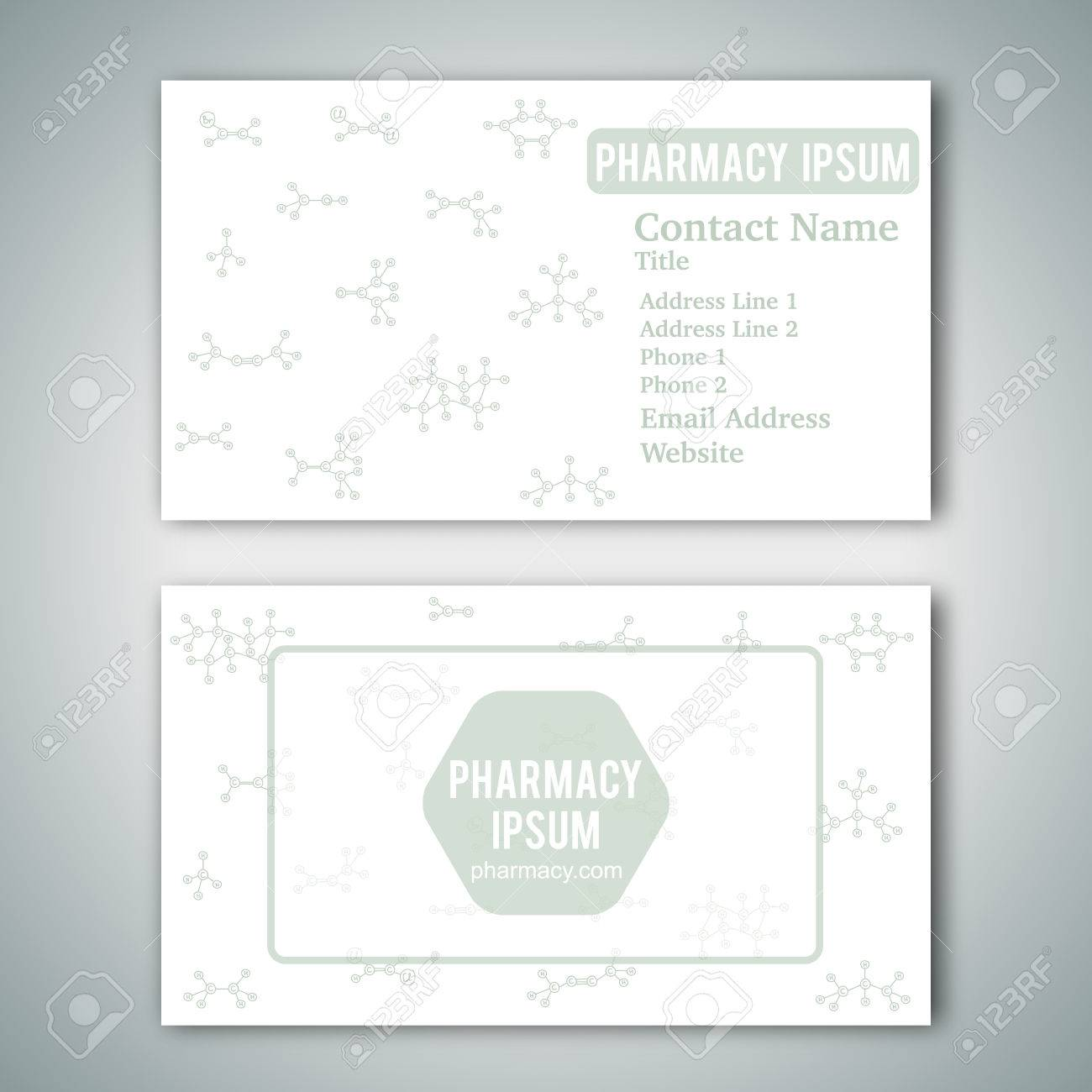 Business Card Template With Hand Drawn Doodles Of Cartoon Organic Chemical Molecule Vector Illustration