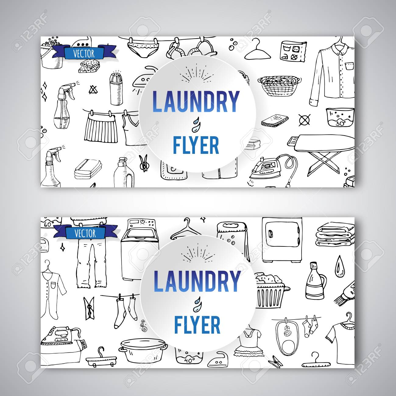 Hand drawn doodle laundry flyer set vector illustration washing hand drawn doodle laundry flyer set vector illustration washing icons laundry concept elements cleaning business symbols biocorpaavc Image collections