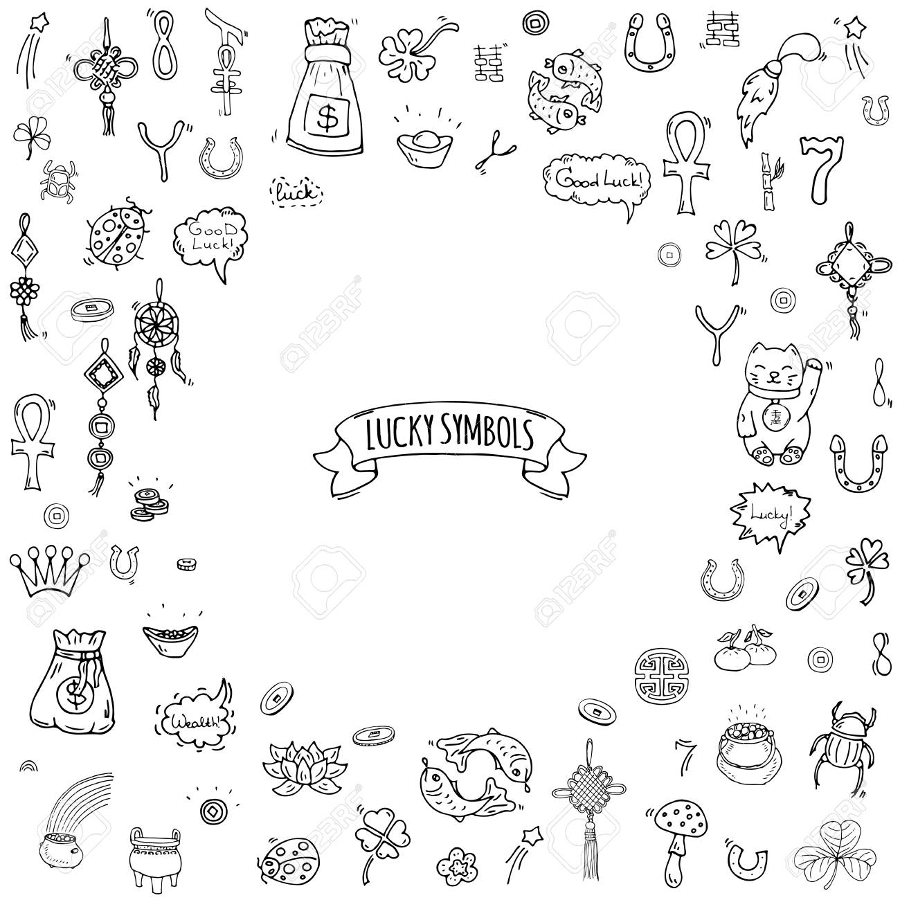 Hand drawn doodle lucky symbols icon set vector illustration hand drawn doodle lucky symbols icon set vector illustration isolated luck symbols collection cartoon wealth element biocorpaavc Image collections