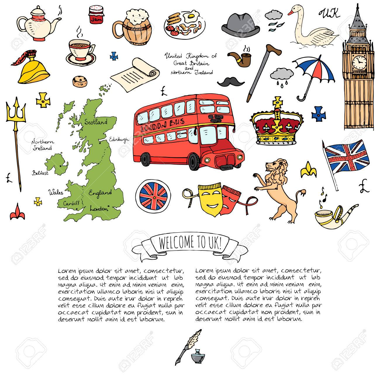 Hand drawn doodle united kingdom set vector illustration uk icons hand drawn doodle united kingdom set vector illustration uk icons welcome to london elements british symbols buycottarizona Images