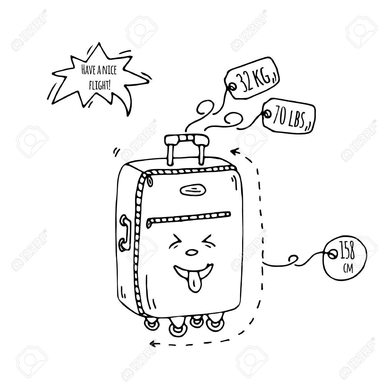 Hand Drawn Doodle Baggage With Funny Emoji Face Icon Vector