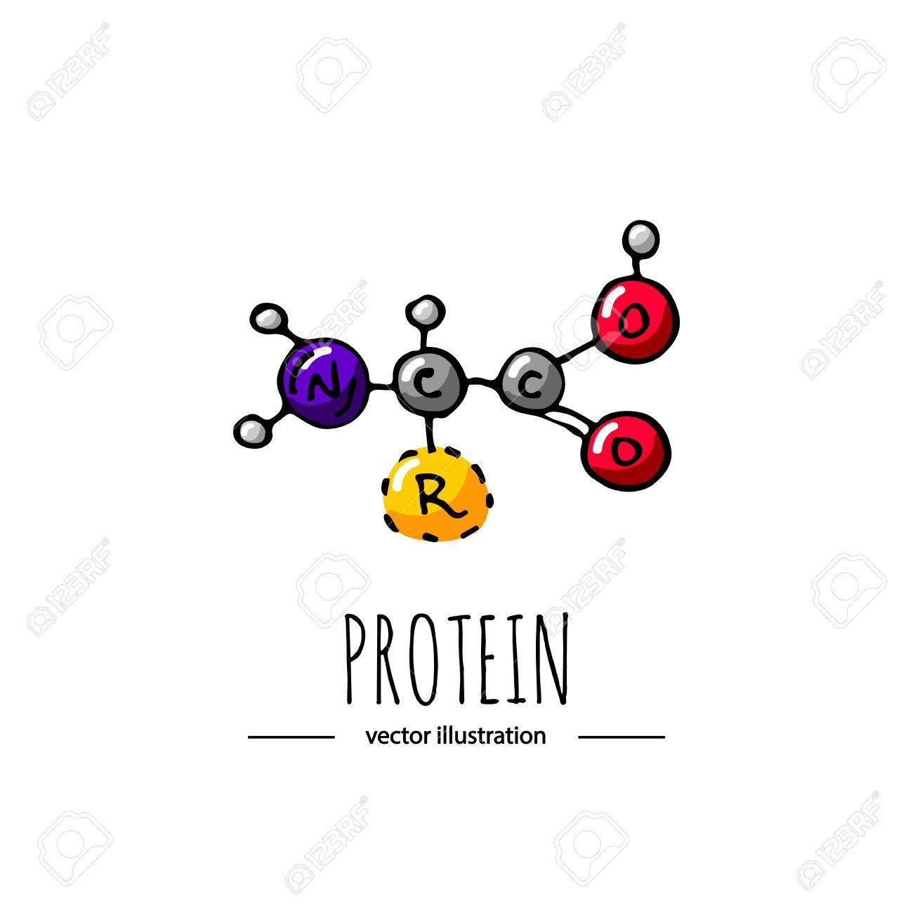 hand drawn doodle protein chemical formula icon vector illustration