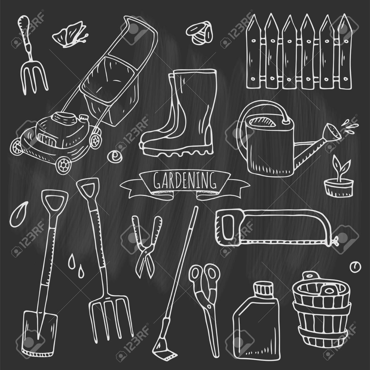 Hand drawn doodle set of Gardening icons  Vector illustration