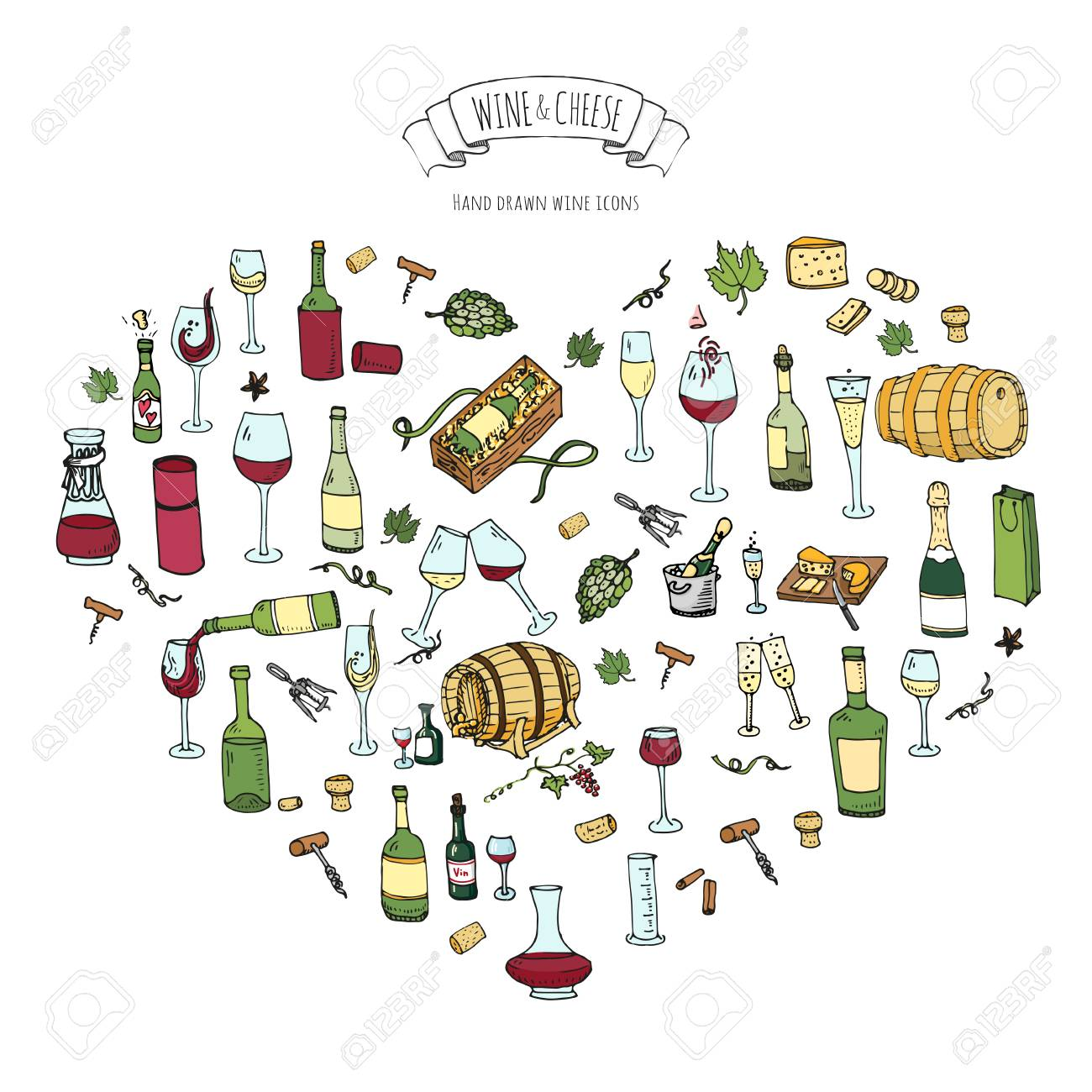 Hand drawn wine set icons Vector illustration Sketchy wine tasting elements collection Wine objects Cartoon wine symbols Vineyard background Vector wine background Winery illustration Grape Wine glass - 100314596